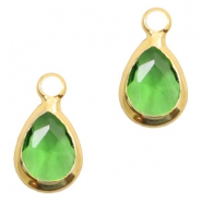 Crystal glass charms drop 12x6mm Green-Gold