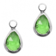 Crystal glass charms drop 12x6mm Green-Silver
