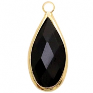 Crystal glass charms drop 10x20mm Jet Black-Gold