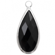 Crystal glass charms drop 10x20mm Jet Black-Silver