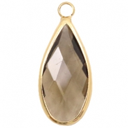 Crystal glass charms drop 10x20mm Greige Crystal-Gold