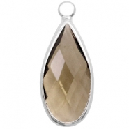 Crystal glass charms drop 10x20mm Greige Crystal-Silver