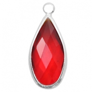 Crystal glass charms drop 10x20mm Red Crystal-Silver