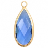 Crystal glass charms drop 10x20mm Blue Crystal-Gold