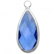 Crystal glass charms drop 10x20mm Blue Crystal-Silver