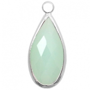Crystal glass charms drop 10x20mm Light Turquoise Green Opal-Silver