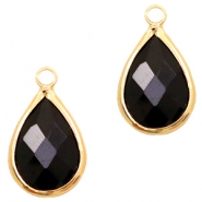 Crystal glass charms drop 10x14mm Jet Black-Gold