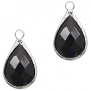Crystal glass charms drop 10x14mm Jet Black-Silver