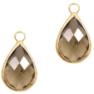 Crystal glass charms drop 10x14mm Greige Crystal-Gold