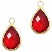 Crystal glass charms drop 10x14mm Red Crystal-Gold