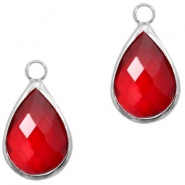Crystal glass charms drop 10x14mm Red Crystal-Silver