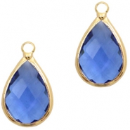 Crystal glass charms drop 10x14mm Blue Crystal-Gold