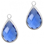 Crystal glass charms drop 10x14mm Blue Crystal-Silver