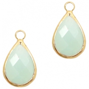Crystal glass charms drop 10x14mm Light Turquoise Green Opal-Gold
