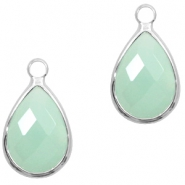 Crystal glass charms drop 10x14mm Light Turquoise Green Opal-Silver