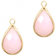 Crystal glass charms drop 10x14mm Light Pink Opal-Gold