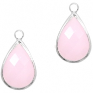 Crystal glass charms drop 10x14mm Light Pink Opal-Silver