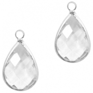Crystal glass charms drop 10x14mm Transparent Crystal-Silver