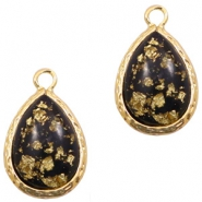 Crystal glass charms drop 10x14mm Black Gold Flakes-Gold