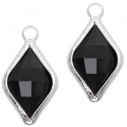 Crystal glass charms rhombus 10x14mm Jet Black-Silver