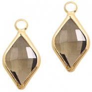 Crystal glass charms rhombus 10x14mm Greige Crystal-Gold