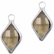 Crystal glass charms rhombus 10x14mm Greige Crystal-Silver