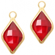 Crystal glass charms rhombus 10x14mm Red Crystal-Gold