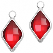 Crystal glass charms rhombus 10x14mm Red Crystal-Silver