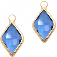 Crystal glass charms rhombus 10x14mm Blue Crystal-Gold