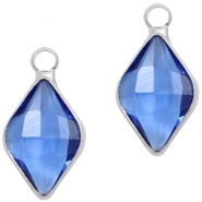 Crystal glass charms rhombus 10x14mm Blue Crystal-Silver