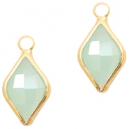 Crystal glass charms rhombus 10x14mm Light Turquoise Green Opal-Gold