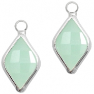 Crystal glass charms rhombus 10x14mm Light Turquoise Green Opal-Silver