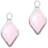 Crystal glass charms rhombus 10x14mm Light Pink Opal-Silver