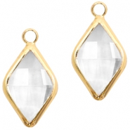Crystal glass charms rhombus 10x14mm Transparent Crystal-Gold