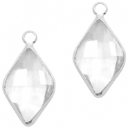 Crystal glass charms rhombus 10x14mm Transparent Crystal-Silver