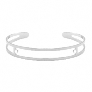 DQ European metal findings basic bracelet 9x60mm with two loops Antique Silver (nickel free)