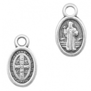 DQ European metal charms Jesus oval 8x11mm Antique Silver (nickel free)