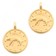 DQ European metal charms leopard round 12mm Gold (nickel free)