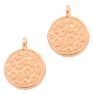 DQ European metal charms leopard skin round 12mm Rose Gold (nickel free)