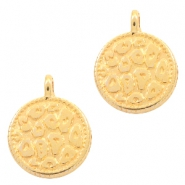 DQ European metal charms leopard skin round 12mm Gold (nickel free)