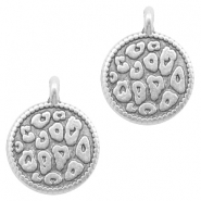 DQ European metal charms leopard skin round 12mm Antique Silver (nickel free)