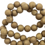 6 mm natural stone beads agate Antique Gold Metallic
