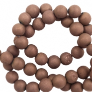6 mm natural stone beads agate Copper Brown Metallic