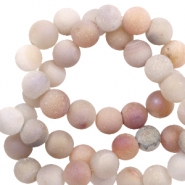 6 mm natural stone beads agate Nude White Melange Metallic