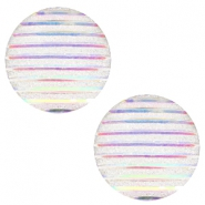 Basic cabochon 20mm stripe Silver Crystal Holographic