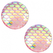 Basic cabochon 12mm mermaid Vintage Pink Holographic