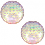 Basic cabochon 12mm mermaid Silver Crystal Holographic