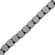 Hematite beads cube mat Anthracite Grey