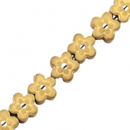 Hematite beads flower mat Gold