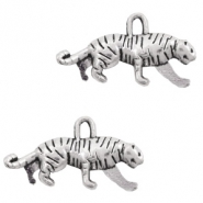 Metal charms tiger Antique Silver